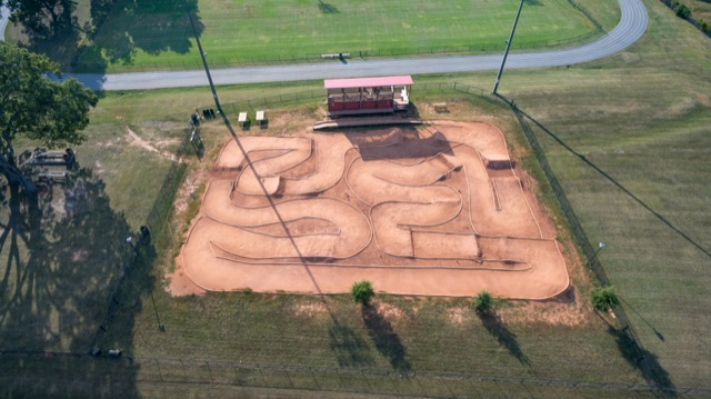 Aerial view of bmx course